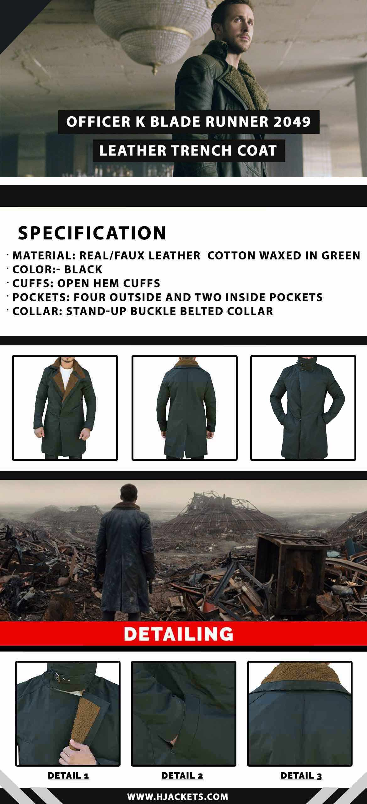 Officer K Blade Runner 2049 Trench Coat Infographic