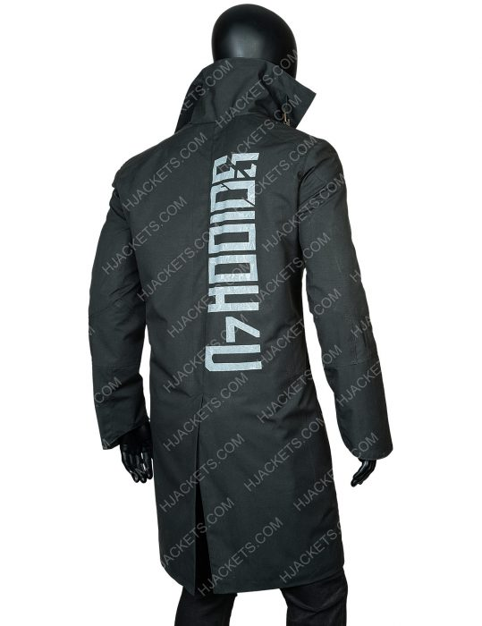 blade runner 2049 leather trench coat writing on back
