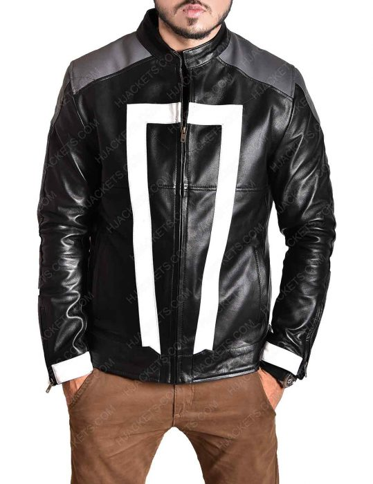 agent of shield black leather ghost rider jacket