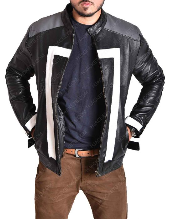 ghost rider agent of shield black leather jacket