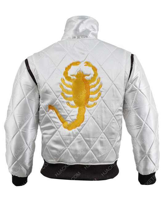 golden scorpion logo ryan gosling satin jacket