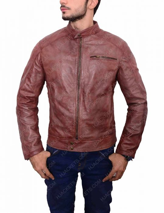 overdrive scott eastwood andrew foster brown leather jacket