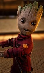 baby groot red leather jacket