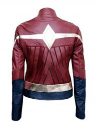 wonder woman maroon leather jacket