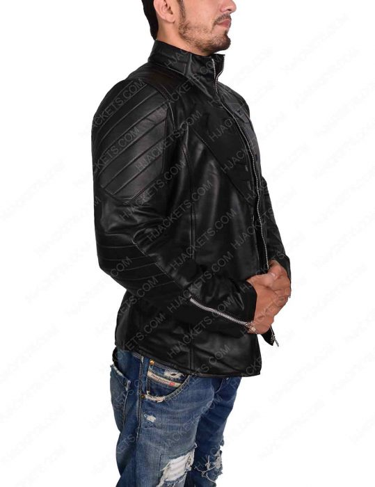 smallville superman black leather jacket