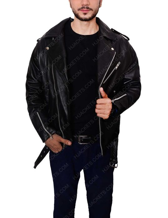 biker black jacket men