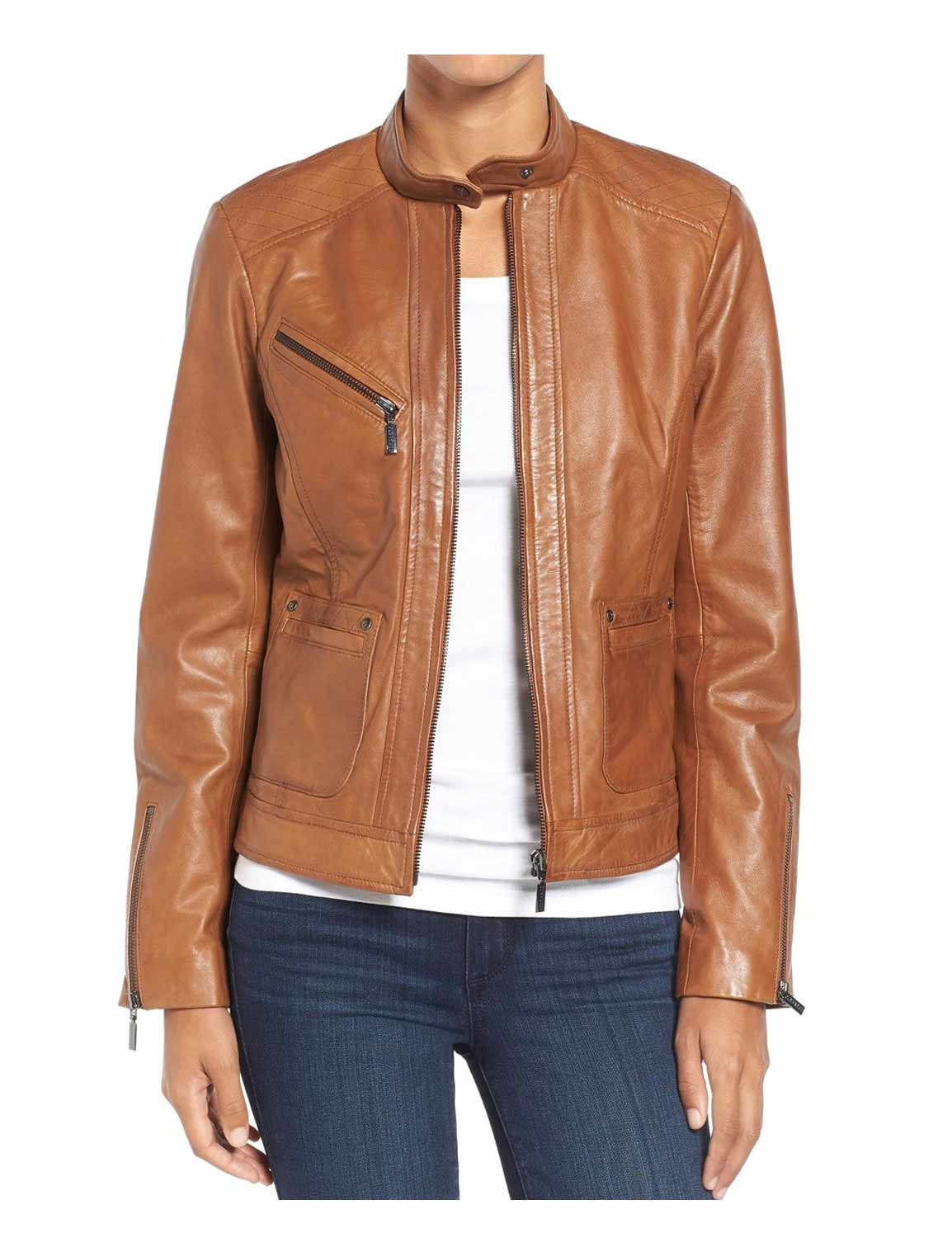 Womens Brown Leather Jacket  Casual Style - Hjackets-6303