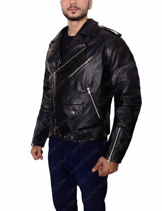 men biker black jacket