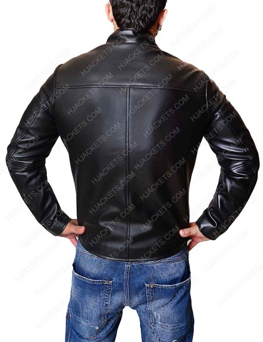 venom black leather jacket