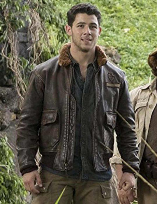 jumanji-2-nick-jonas- leather- jacket