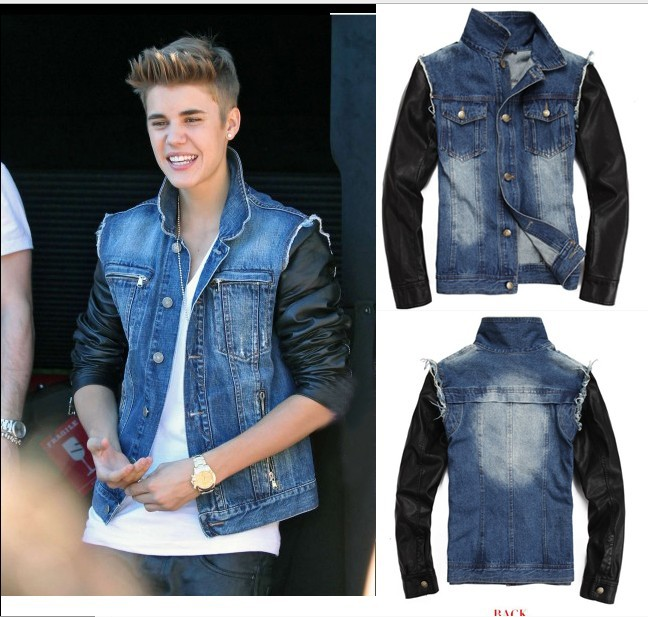 Denim Men's leather Outfits