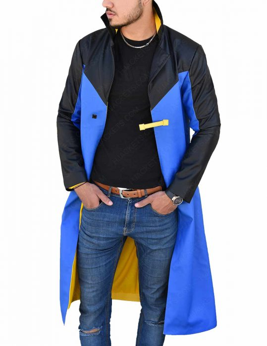 Black And Blue Static Shock Leather Jacket