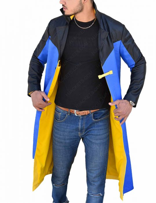 Black And Blue Static Shock Trench Coat