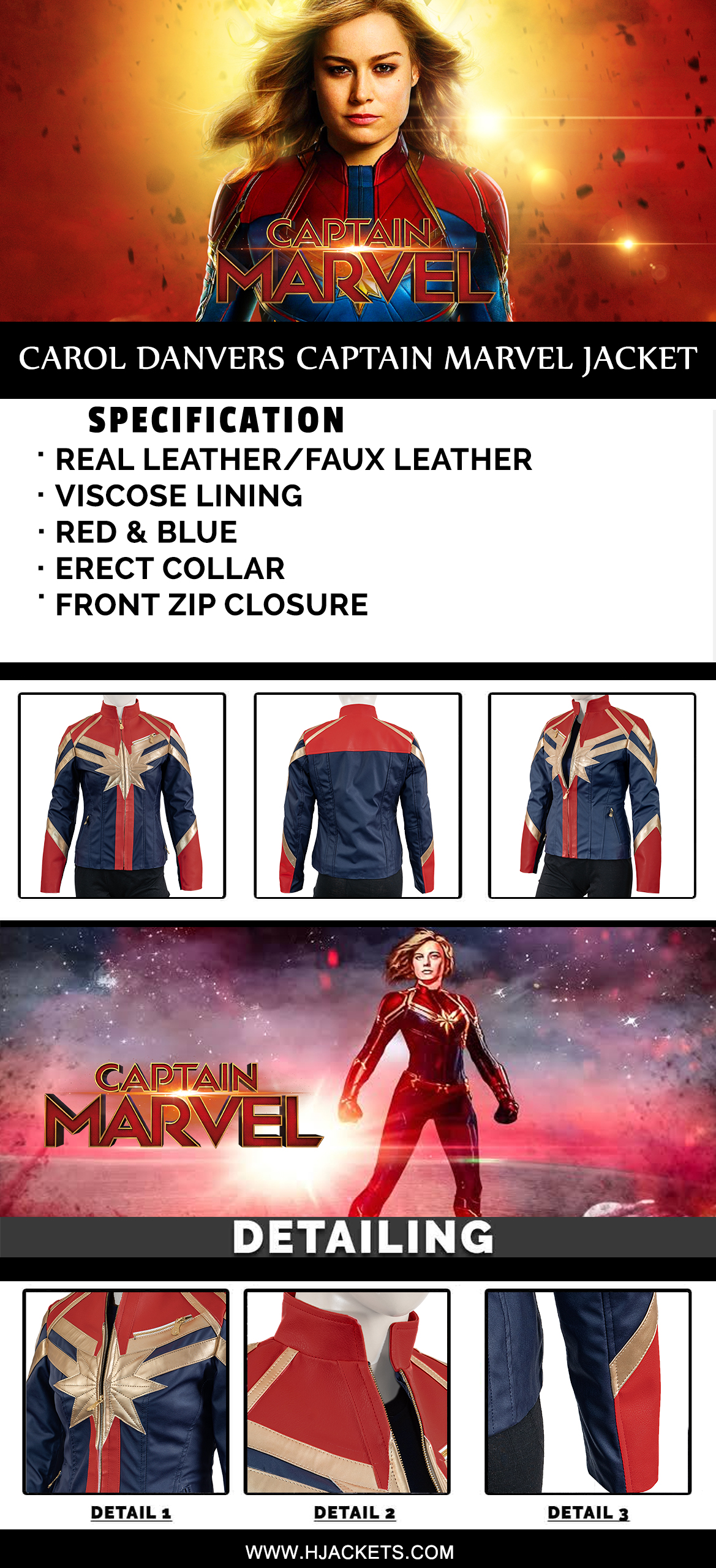 carol danvers captain marvel jacket infographic