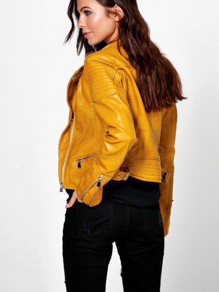 El Paso Leather Womens Biker Yellow Jacket