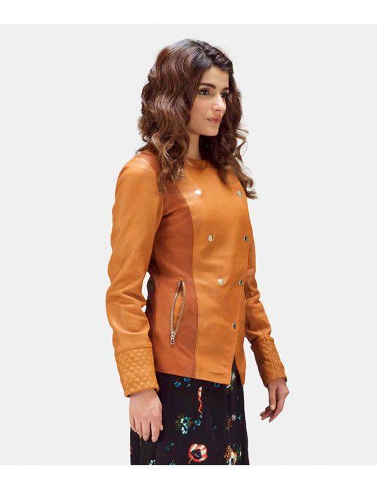 overlap leather jacket