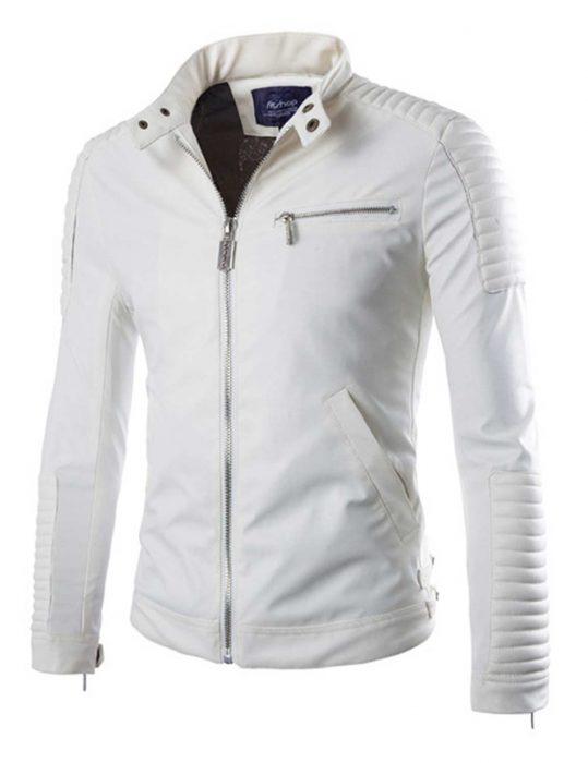 white leather moto jacket