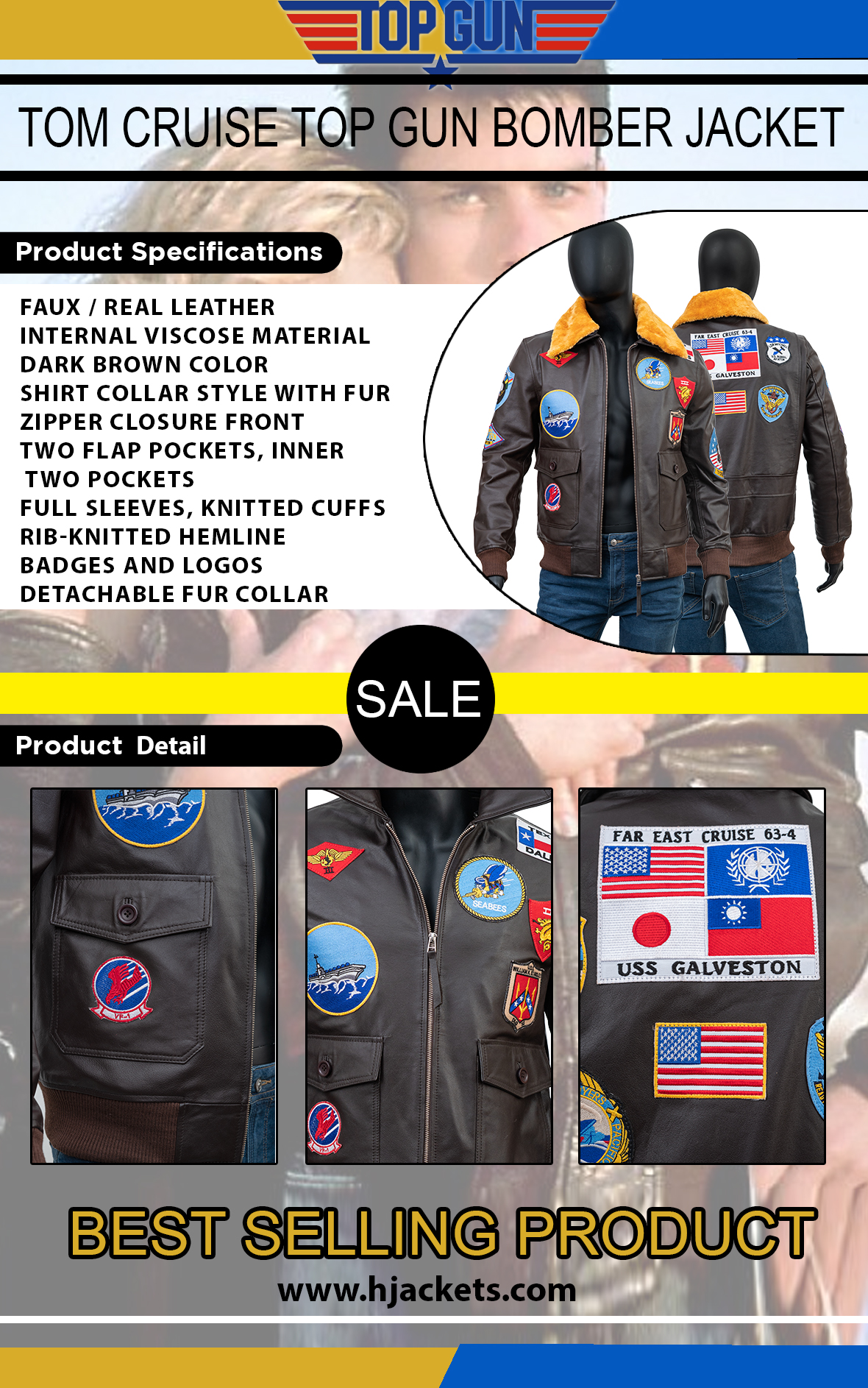 Tom Cruise Top Gun Bomber Jacket Infographic