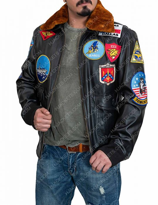 Top Gun Tom Cruise Bomber Flight Jacket With Patch