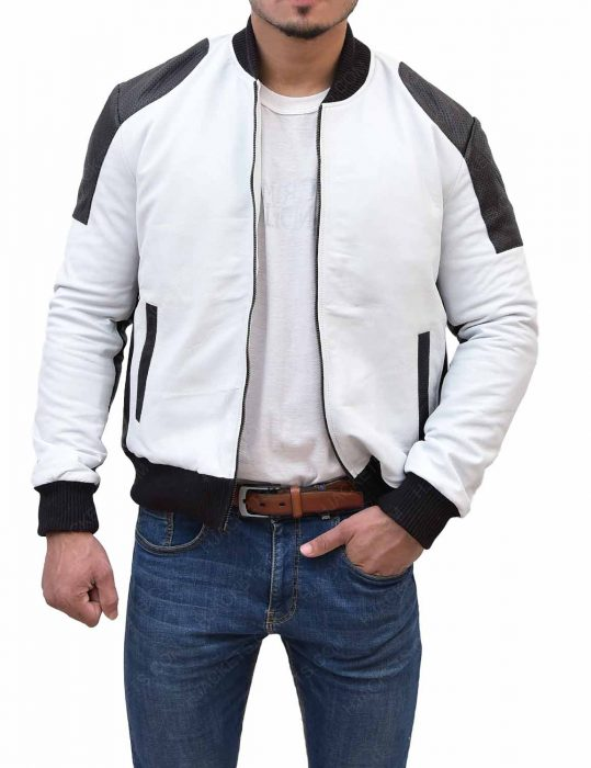 moto racer white leather jacket