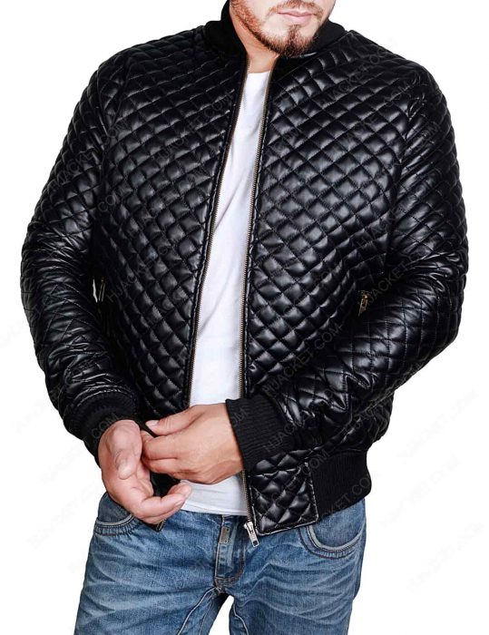 mens quilted black jacket