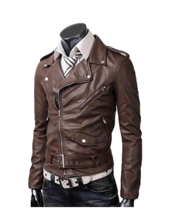 Slim Brown Leather Jacket Men - Hjackets