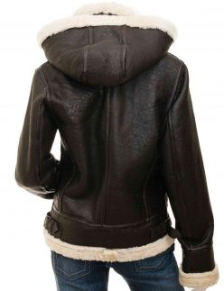 women brown shearling jacket