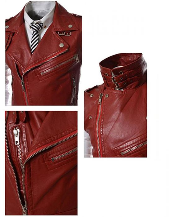 slim fit leather vest