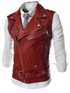 mens slim fit leather vest