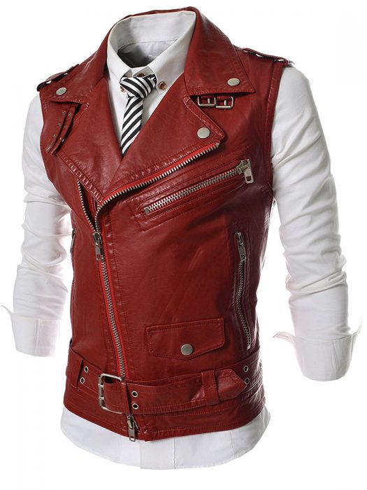 mens slim fit leather vest