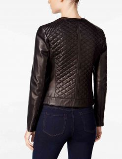 chocolate brown bomber quilted jacket