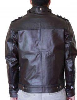 dark brown biker leather jacket