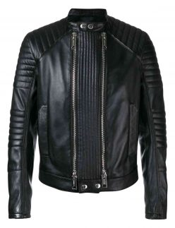 mens double zip black jacket