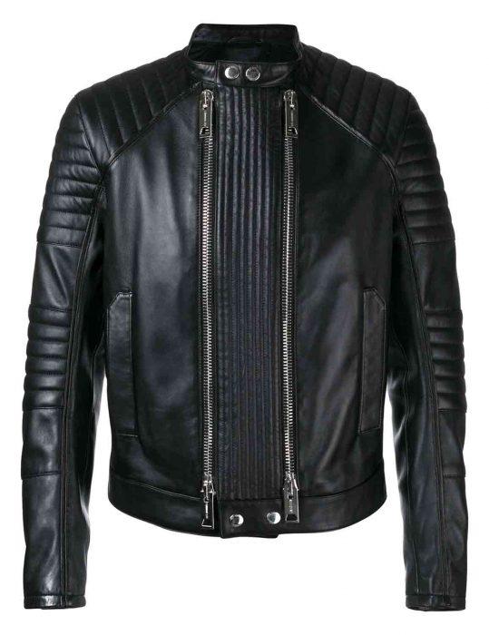 mens double zip black jacket
