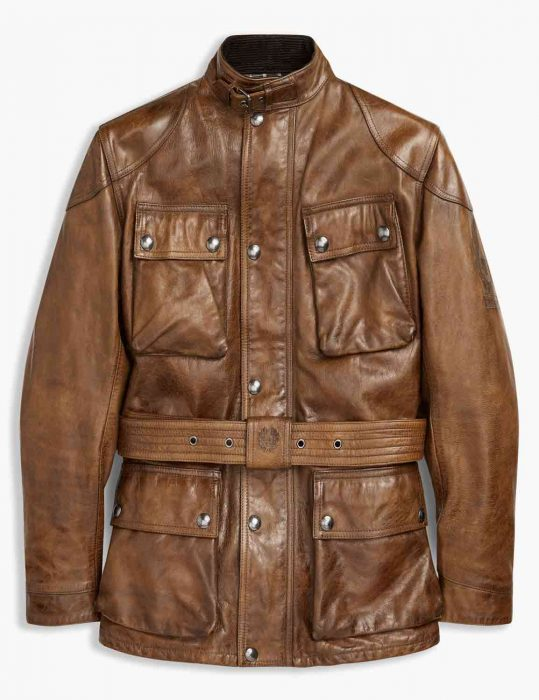 brown waxed leather mens jacket