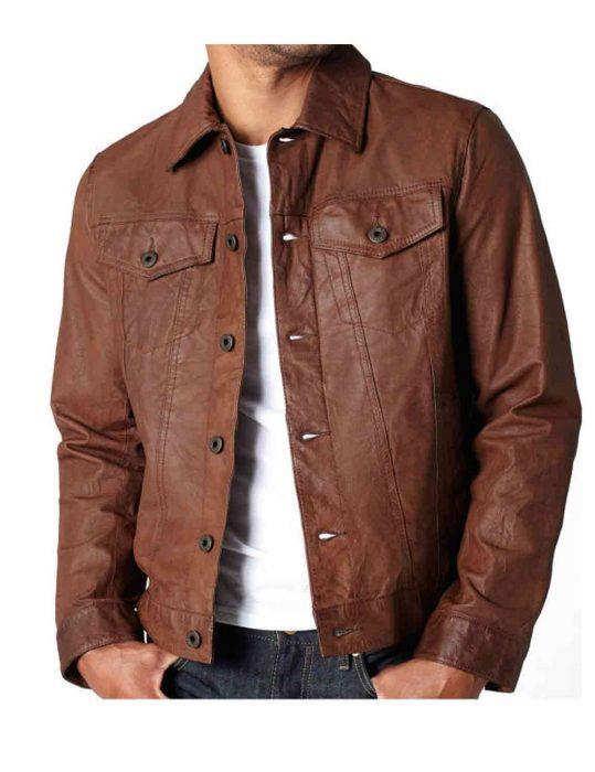 men brown vintage leather jacket