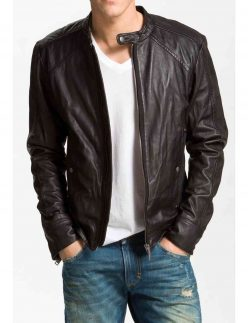 men biker blackish brown jacket