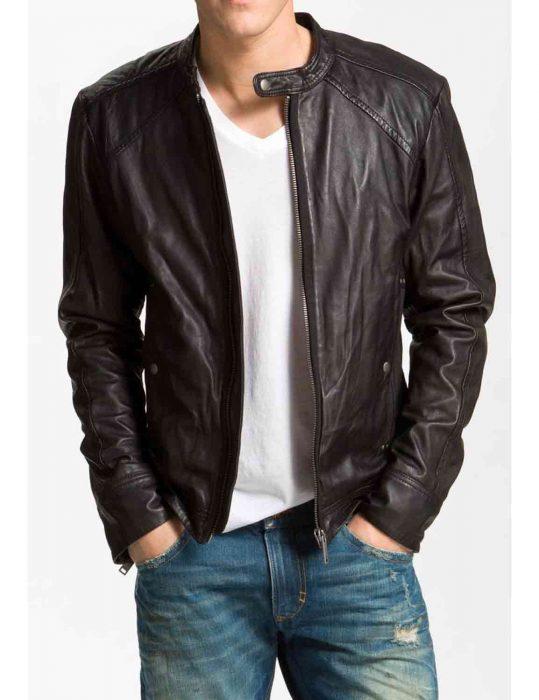 men biker blackish brown jacket