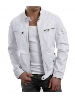 mens white slim fit jacket
