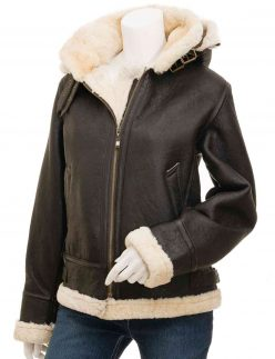 shearling women brown jacket