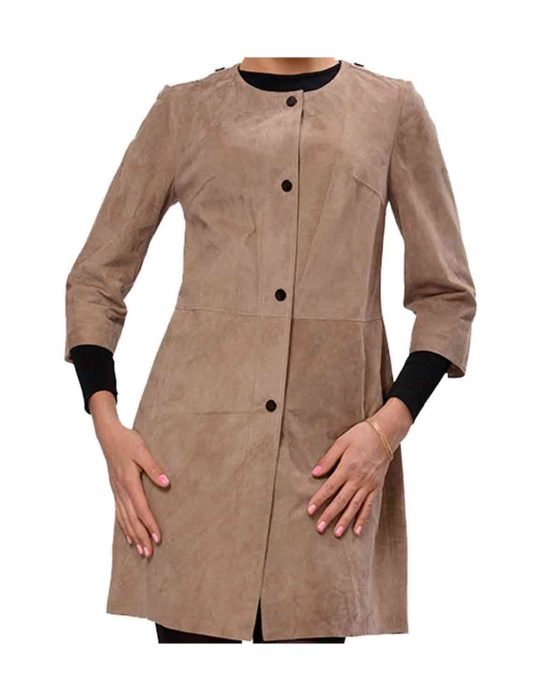 front buttons suede coat for womens