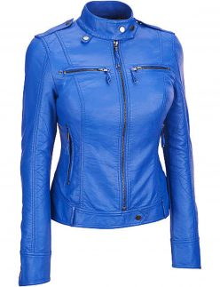 blue color biker jacket for womens
