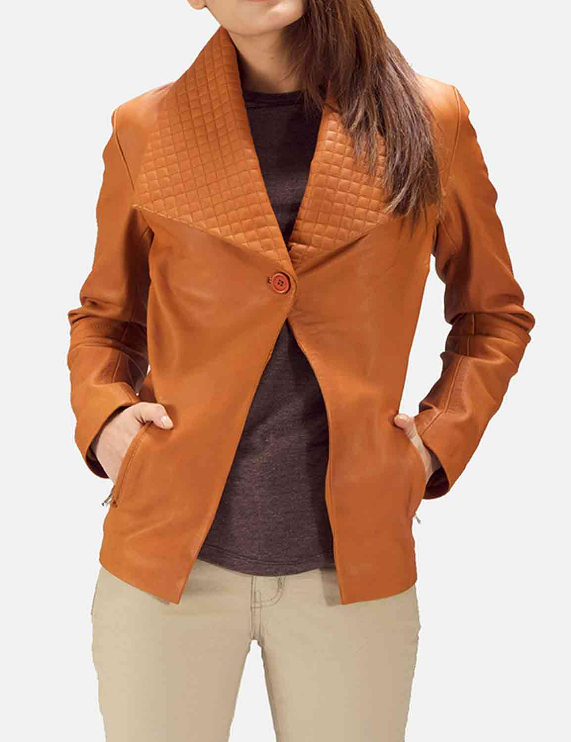 Women looking to sport a manly and rough look can consider wearing western leather blazers for women. The popular ones are black and brown.