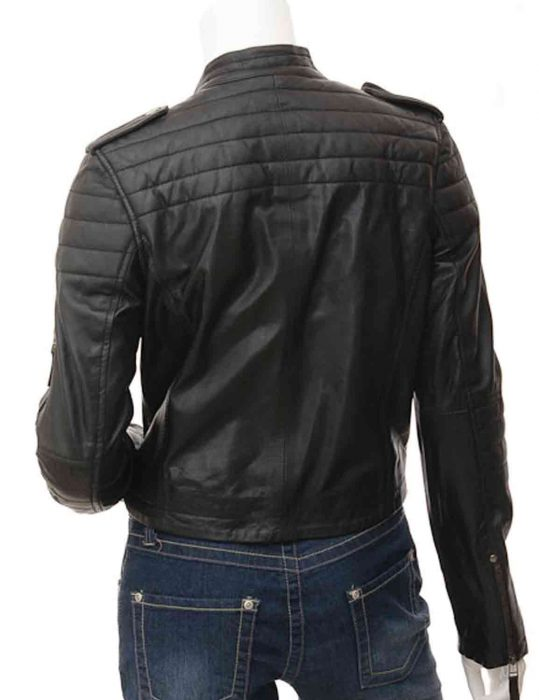 women black asymmetrical jacket