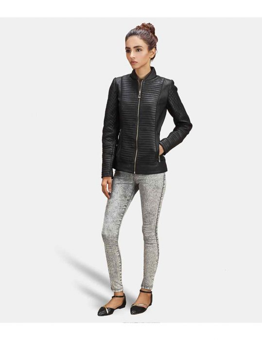 biker womens quilted jacket