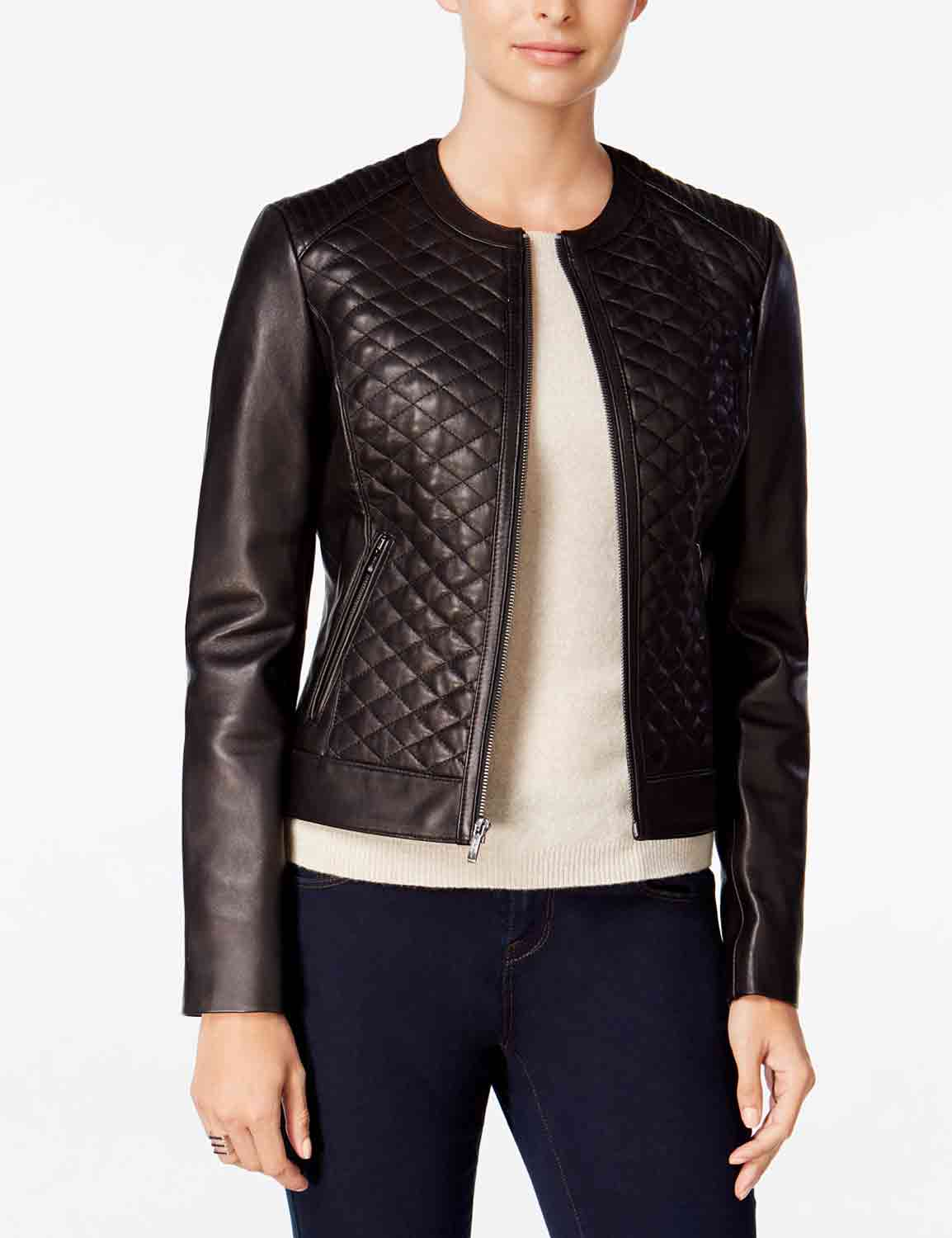 Chocolate Brown Quilted Bomber Jacket For Womens Hjackets