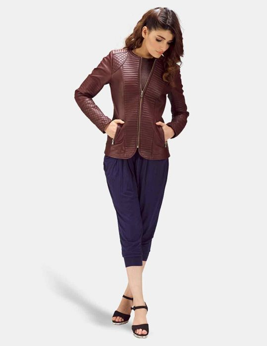 quilted maroon jacket women