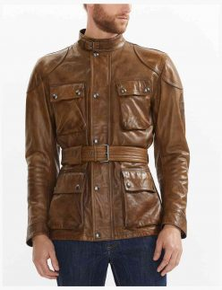 Brown waxed motorcycle jacket
