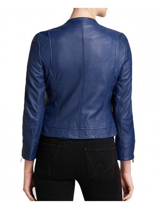 blue asymmetrical jacket