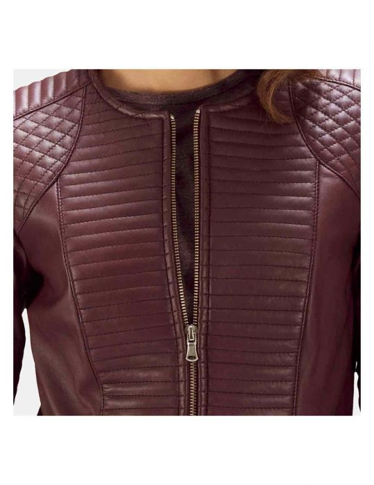 quilted maroon jacket
